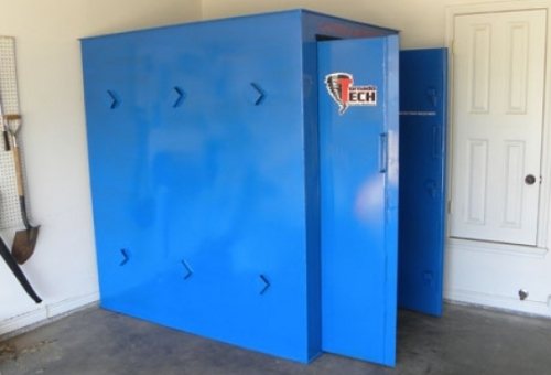 Layered flexible walls, concurrent anchoring methods, evenly distributed ventilation, and dual swing (in or out) doors with top to bottom 'continuous' hinges make the Tornado Tech Shelter the new standard in above ground tornado shelters in Elk City.