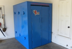 The continuous (top to bottom) hinged doors on the Tornado Tech Above Ground Tornado Shelter provides substantial durability, and distributes the energy of an impact evenly, without compromising the doors ability to function. Perfect for homes and businesses in Hugo